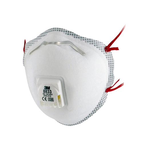 3M™ 8833 részecskeszűrő félálarc, FFP3, szelepes, 1737 Ft/db,10 db/csomag, 7100057145
