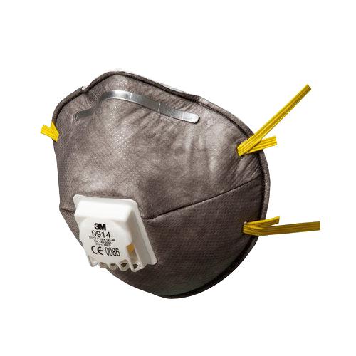 9914 FFP1 Szelepes, aktívszenes részecskeszűrő félálarc, porok + MK értékig szerves gőzök ellen, 1825 Ft/db, 10 db/csomag, 7000034739