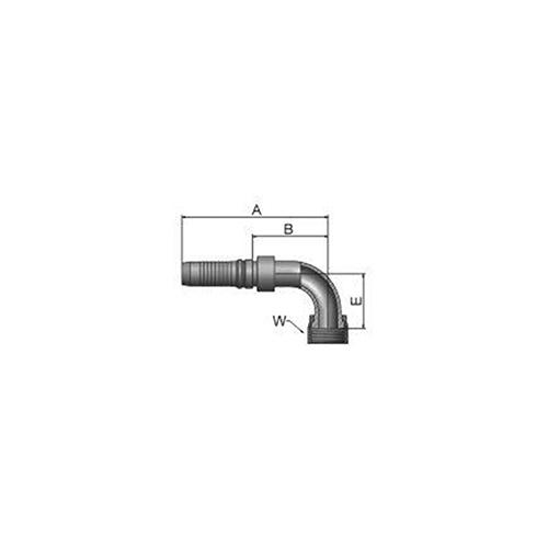 Parker Tömlővég belső 9/16-18x90(6,3)H, KJ947-4-4
